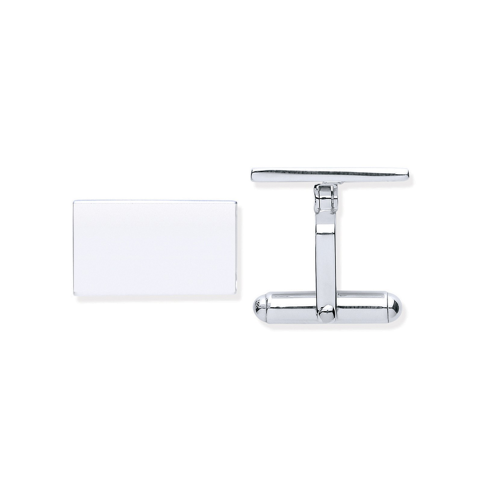 Silver Plain Rectangle Cufflinks