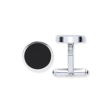 Selling: Silver Black Onyx Round Cufflinks