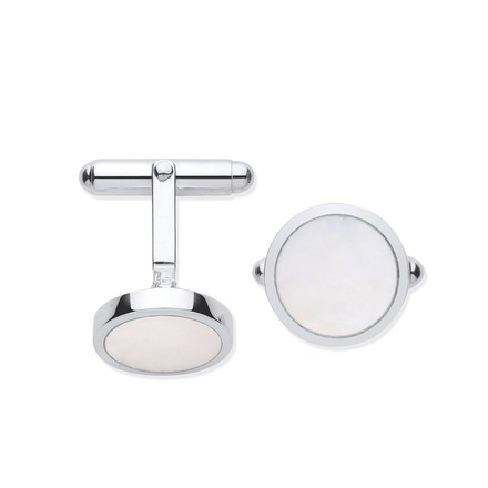 Selling: Silver Mother of Pearl Round Cufflinks
