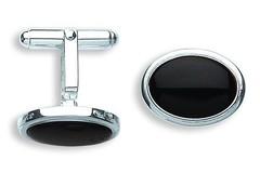 Selling: Silver Black Onyx Oval Cufflinks