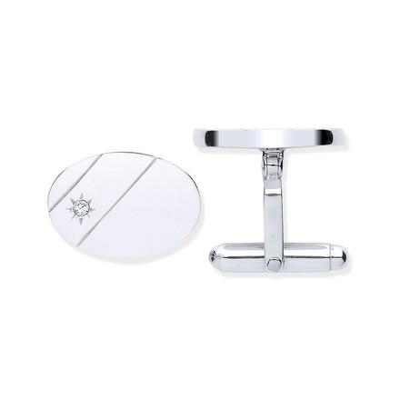 Selling: Silver CZ, Plain Oval Cufflinks
