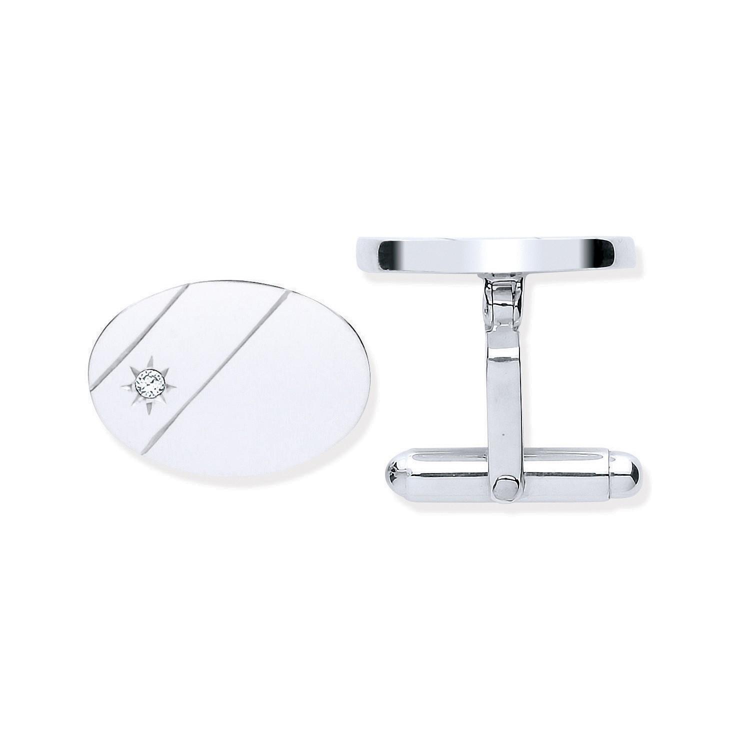 Silver CZ, Plain Oval Cufflinks