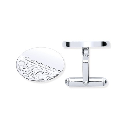 Selling: Silver Plain & Engraved Oval Cufflinks