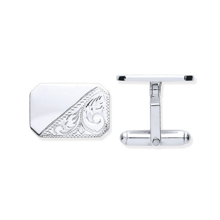 Selling: Silver Plain & Engraved Rectangle Cufflinks