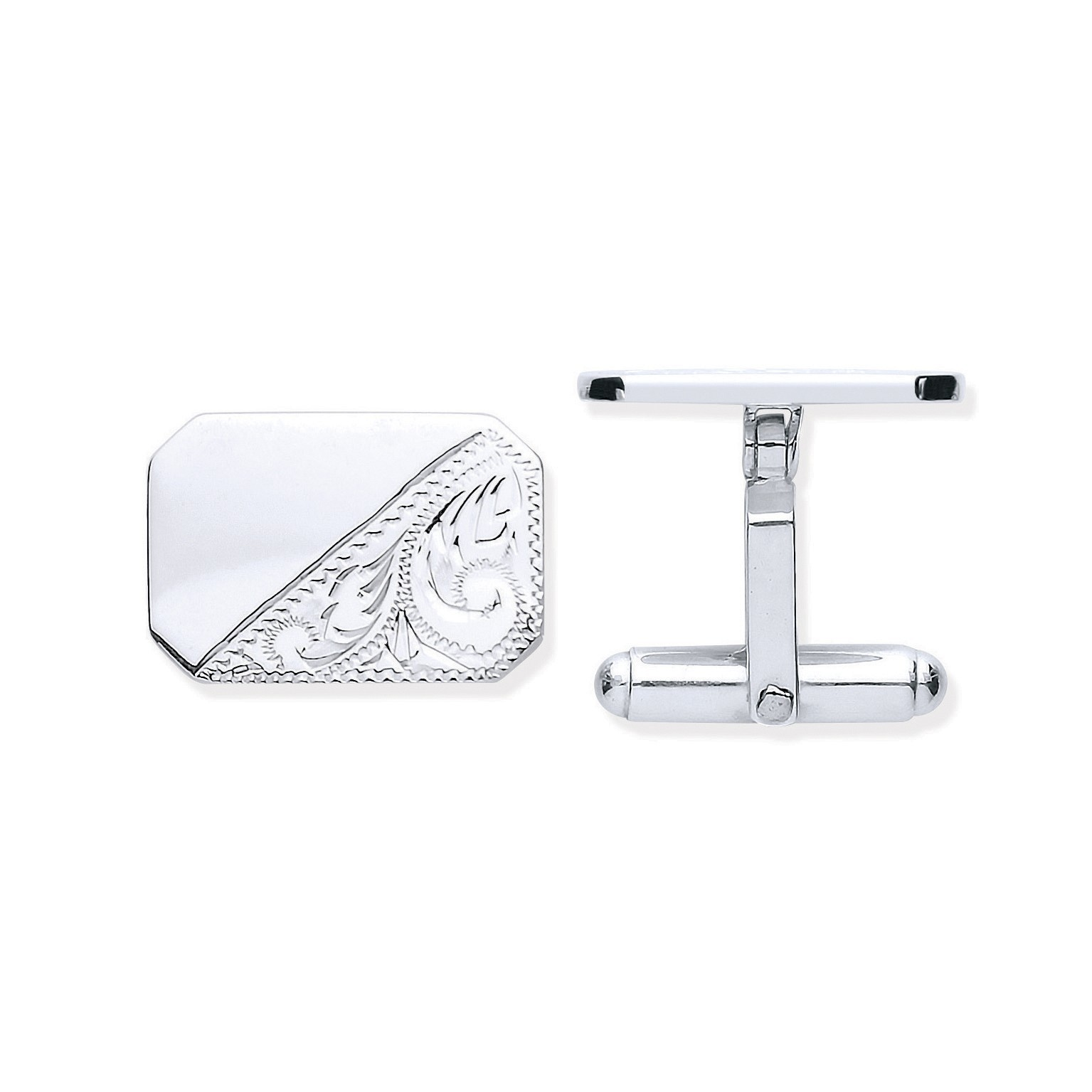 Silver Plain & Engraved Rectangle Cufflinks
