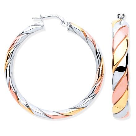 Silver Three Colour Round Hoop Earrings
