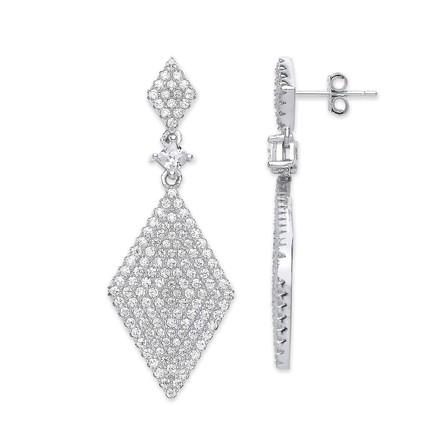 Silver Diamond Shaped Cz Drop Earrings