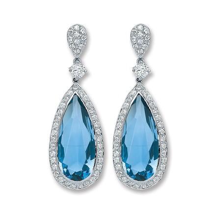 Silver Blue Cz Pear Shape Drop Earrings