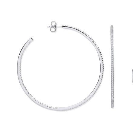Silver CZ Large Hoop Earrings