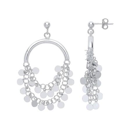 Silver Fancy Half Hoop, Coin Drop Earrings