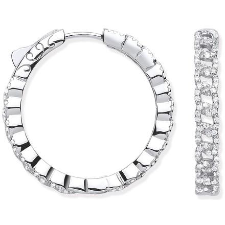 Silver Curb Chain Link CZ Hoop Earrings