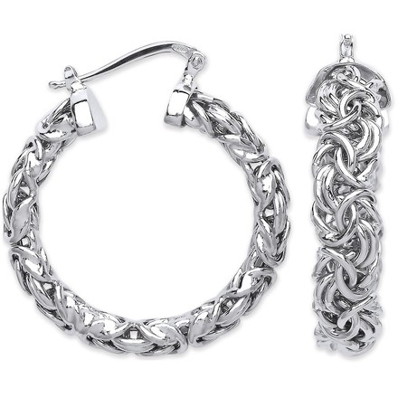 Silver Byzantine Hoop Earrings
