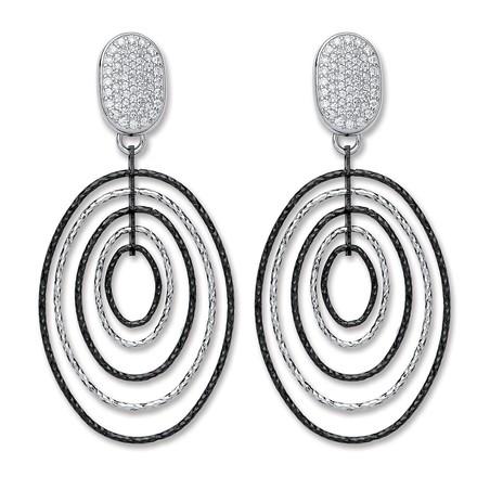 P/P Silver & Ruthenium Oval Drop Earrings