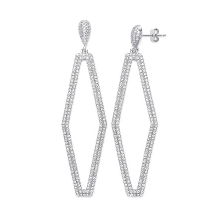 Silver Two Rows Diamond Shape Cz Drop Earrings