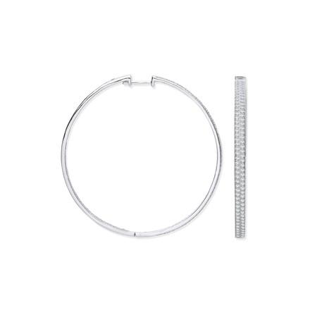 Silver Two Row CZ Hoop Earrings