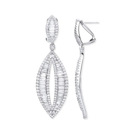 Silver Baguette and Round Open Drop Earrings