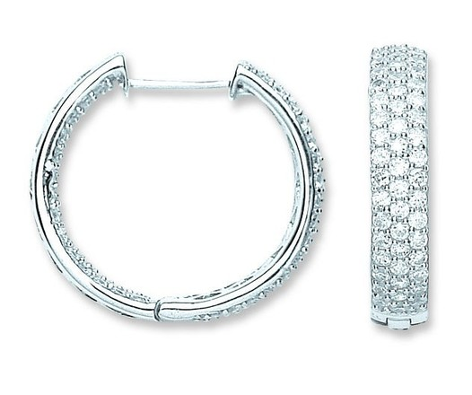 Silver Pave Set Cz Hoop Earrings