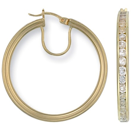 Selling: Y/G Cz Hoop Earrings