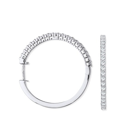Selling: 18ct White Gold 0.70ct Claw Set Diamond Hinged Hoop Earrings