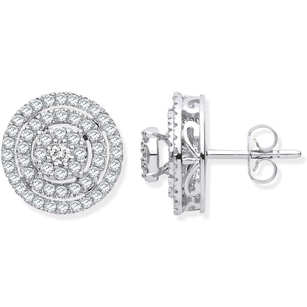 Selling: 18ct White Gold Multy Circles 0.70ctw Diamond Stud Earrings