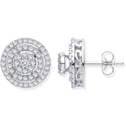 Selling: 18ct White Gold Multy Circles 0.70ctw Diamond Stud Earrings