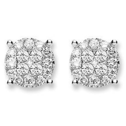 Selling: 18Ct White Gold 1.00ct Cluster Diamond  Studs