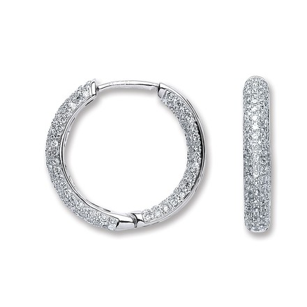 Selling: 18ct White Gold 1.33ct Diamond Hoop Earrings