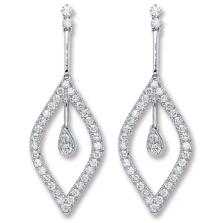 Selling: 18ct White Gold 0.80ct Dia Drop Earrings