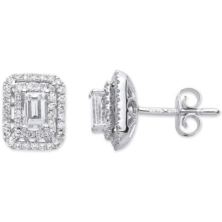 Selling: 18ct White Gold 0.70ct Emerald Cut Rectangular Stud