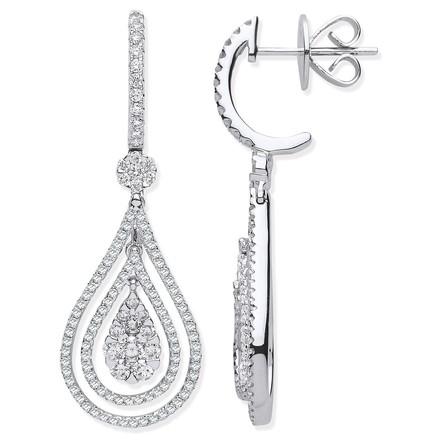 Selling: 18ct WG 1.17ct Fancy Pear Shaped Grain Set Drop Earrings