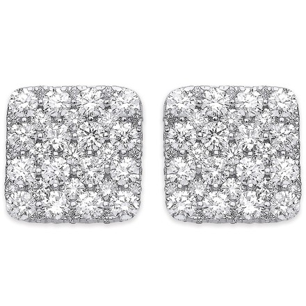 Selling: 18ct White Gold 1.67ct Square Grain Set Drop Earrings