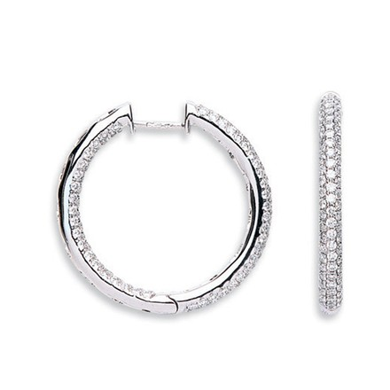 Selling: 18Ct White Gold 1.60ct Diamond Hoop Earrings
