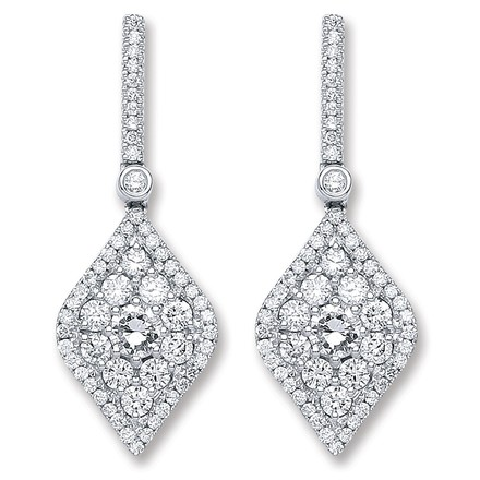 Selling: 18ct White Gold 1.50ct Dia Drop Earrings