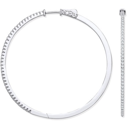 Selling: 18ct White Gold 1.20ctw Claw Set Hoop Earrings