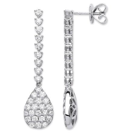 Selling: 18ct WG 2.34ct Fancy Pear Shaped Pave Drop Earrings