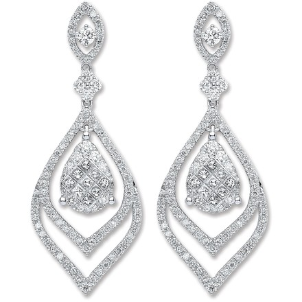 Selling: 18ct White Gold 2.00ct Dia Drop Earrings