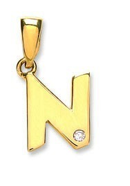 Selling: 9ct Yellow Gold 0.01ct Diamond N Initial