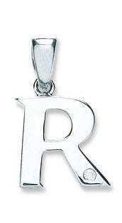 9ct White Gold 0.01ct Diamond R Initial