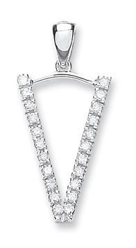 9ct White Gold 0.17ct Diamond V Initial
