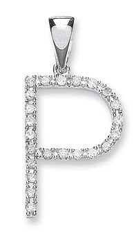 9ct White Gold 0.20ct Diamond P Initial