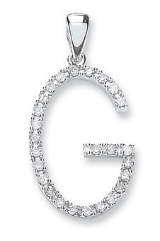 Selling: 9ct White Gold 0.22ct Diamond G Initial