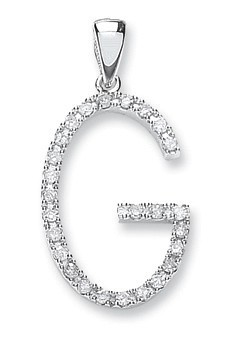 9ct White Gold 0.22ct Diamond G Initial