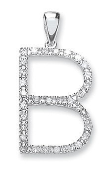 Selling: 9ct White Gold 0.27ct Diamond B Initial