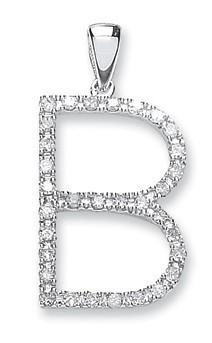 9ct White Gold 0.27ct Diamond B Initial