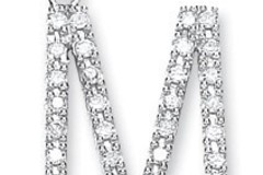 9ct White Gold 0.30ct Diamond M Initial
