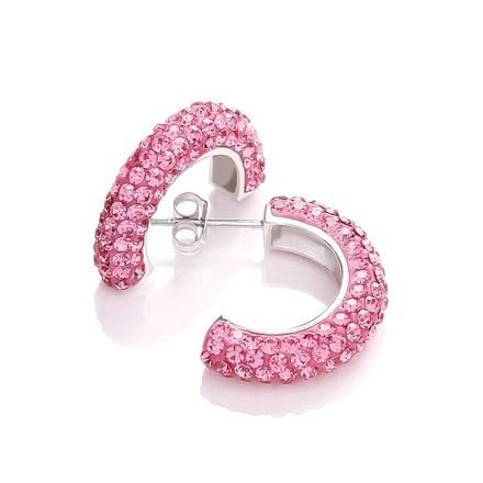 Selling: Half Hoop Stud with Pink Cz