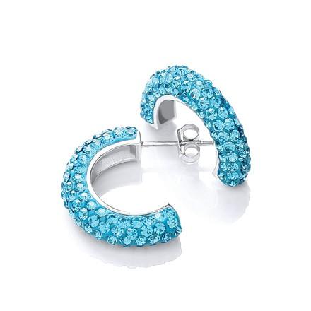 Selling: Half Hoop Stud with Light Blue Cz