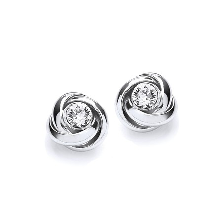 Silver Knot with Cz in the Centre Stud Earrings