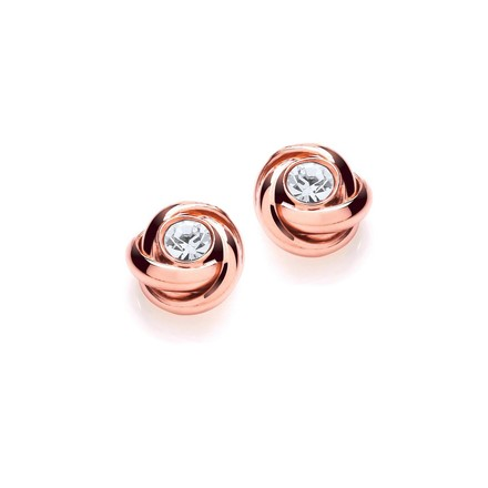 Rose Knot with Cz in the Centre Stud Earrings