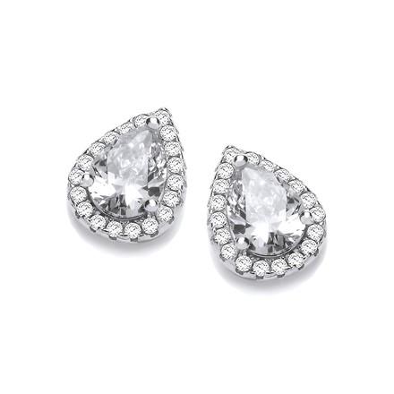 Selling: Teardrop Clear Cz Stud Earrings